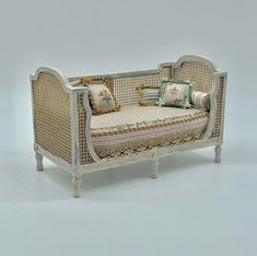 Dollhouse miniature, Sofa bed Gustavian style in shades beige aged, upholstered in beige linen and hand painted. The cushions are sold separately, only two round cushions come with the sofa Painted Sofa, Painted Drawers, Hand Painted, Miniature Furniture, Dollhouse Furniture, Doll House Plans, Hotel Collection Bedding, Mini Doll House, Dollhouse Accessories