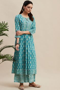 Buy Turquoise Block Printed A-line Cotton Kurta Simple Kurta Designs, Kurti Neck Designs, Kurta Designs Women, Blouse Designs, Casual Indian Fashion, Indian Outfits, Printed Kurti Designs, Designer Party Wear Dresses, Two Piece Dress