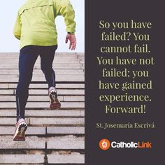 You Have Not Failed | St. Josemaria Escriva Quote Gospel Reading, Give Me Strength, Catholic Quotes, Saint Quotes, The Good Shepherd, Christian Marriage, Mother Teresa, Holy Spirit, Confessions