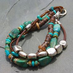 Summer fun multi-strand boho bracelet featuring turquoise, pewter, leather and sterling silver on Etsy, $32.00