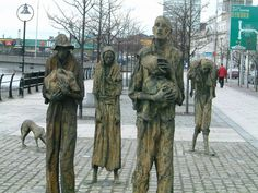 "Famine Memorial in Dublin - In Ireland, the Great Famine was a period of mass starvation, disease and emigration between 1845 and 1852.[1] It is also known, mostly outside Ireland, as the Irish Potato Famine.[2] In the Irish language it is called an Gorta Mór (IPA: [ənˠ ˈɡɔɾˠtˠə ˈmˠoːɾˠ], meaning ""the Great Hunger"")[fn 1] or an Drochshaol ([ənˠ ˈdˠɾɔxˌhiːlˠ], meaning ""the bad times""). #neverforget"