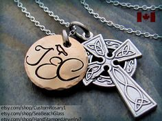 Baptism Gift. Cross Necklace. Celtic Cross necklace. Godparents Gift. Hand Stamped. Personalized. Initial. STERLING Silver Chain.    -->> STAMPING
