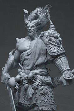 Hello guys, This is my latest work I have been working in my free time, the character is based upon Du Showwhy and Yang Qi concept art. Everything is sculpting in zbrush and rendered with maya v-ray and compiled in pho… Zbrush Character, Character Modeling, Character Art, Zbrush Models, 3d Models, 3d Fantasy, Dark Fantasy, Digital Sculpting, Art Sculpture