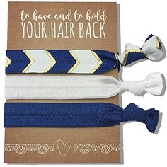 Jeune Marie 6 Pack Blue Ribbon Hair Ties KIT No Crease Elastics Handtied Ouchless Ponytail Holders Hair Band Bracelet Favors for Bachelorette Parties Bridal Showers and More 6 Pack Blue ** You can get additional details at the image link.