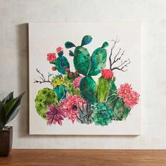 Bring the desert in bloom to your walls with our succulent piece of wall art. These prickly beauties have been hand-painted and hand-embossed to add not just color, but texture, too. It's all the beauty of the desert without the soaring temperatures. Cactus Decor, Cactus Art, Cactus Flower, Watercolor Flowers, Watercolor Paintings, Canvas Paintings, Nature Paintings, Watercolour, Cuadros Diy
