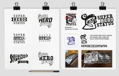 Old school hardcore punk band Super Hero Status zocht naar een logo met wat variaties in