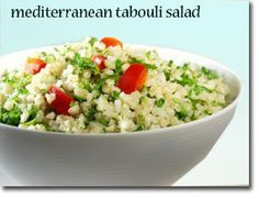 Mediterranean Tabouli Salad-This is a great Mediterranean-style salad. The bulgur does not need to be cooked, just softened, because it has already been steamed, dried, and cracked. Enjoy! Time: 30 minutes 1 cup wheat bulgur (dry), makes 2 cups after combining with liquid 1/2 medium onion, minced 2 cloves garlic, press or chopped 3 cups minced fresh parsley 1 medium tomato, chopped 3 TBS extra virgin olive oil 1 TBS fresh lemon juice or wine vinegar sea salt and pepper