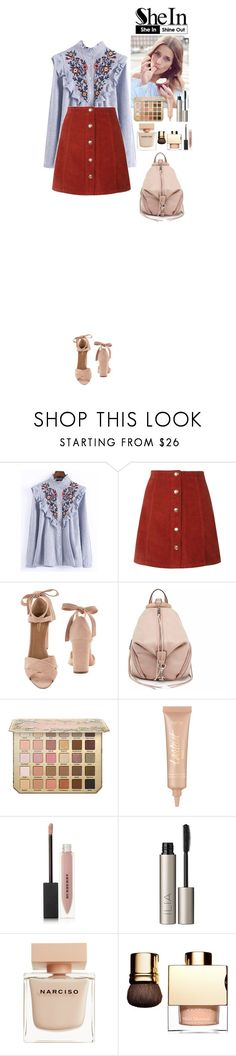 """""""SheIn contest"""" by eliza-redkina ❤ liked on Polyvore featuring WithChic, Aquazzura, Rebecca Minkoff, tarte, Burberry, Ilia, Narciso Rodriguez, outfit, like and look"""