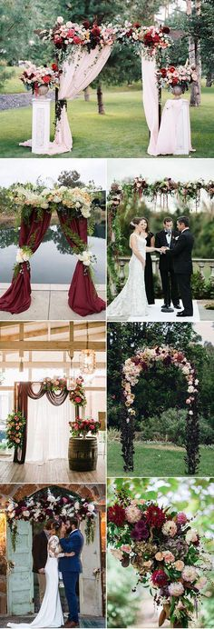 Refined Burgundy and Marsala Wedding Color Ideas for Fall Brides burgundy, maroon and marsala wedding arch and altar ideas: for my friends with weddings coming!burgundy, maroon and marsala wedding arch and altar ideas: for my friends with weddings coming! Wedding Centerpieces, Wedding Decorations, Church Decorations, Decor Wedding, Wedding Ceremony Arch, Outdoor Ceremony, Ceremony Backdrop, Wedding Arch Flowers, Backdrop Wedding