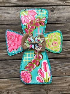 67 Ideas Cross Door Hangers Welcome Signs Initial Door Hanger, Cross Door Hangers, Wooden Door Hangers, Wooden Doors, Wooden Signs, Door Hanger Printing, Wood Crosses, Painted Crosses, Painted Letters