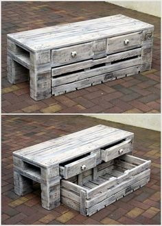 Creative Ideas for Recycled Wood Pallets Old Pallet Table with Drawers Wooden Pallet Projects, Wooden Pallet Furniture, Pallet Crafts, Pallet Ideas, Furniture Ideas, Furniture Online, Pallet Wood, Furniture Stores, Crate Furniture