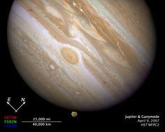 Ganymede and Jupiter.