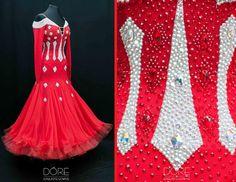 Red Standard w Silver Stripes On Bodice & Diamond Pattern Stoning w Chiffon Godets