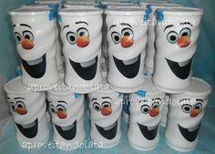 Latas decoradas - frozen - olaf www.facebook.com/aproveitandolata