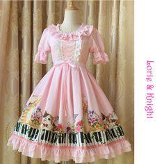 2016 Spring Summer Sweet Piano Keyboard Kitty Print Short Sleeves Princess Sweet Girl Lolita OP Party Dress
