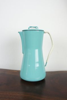 Vintage Dansk Coffee Percolator Turquoise Kobenstyle with wrapped handle, excellent condition