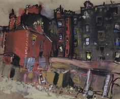 Joan Eardley | Glasgow Tenement and Back Court,c.1959–62 | Pastel on glasspaper, 22.5 ×27.1 cm | Private collection.