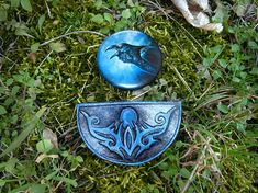 Raven - Hand tooled leather hair barrette and metal badge, hair slide, hair clip, handmade hair accessories, huge button badge, magic art