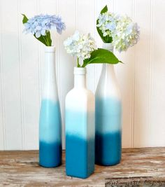 DIY - spray paint wine or other bottles white (let dry), then light blue (let dry), then darker blue