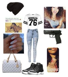 """""""I'm doing s project on new York so..... why not"""" by pleazdonthate ❤ liked on Polyvore featuring Boohoo, NIKE and Michael Kors"""