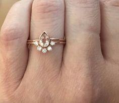 14K Morganite Wedding Set Morganite Engagement Ring Set
