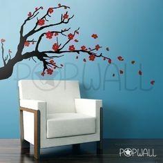 Vinyl Wall Sticker Wall Decals Tree Decal - Cherry Blossom Branch - Popwall design - 005. $65.00, via Etsy.