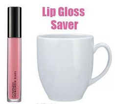 Favorite lip gloss almost gone? Place your lip gloss upright into a mug of WARM water. Let sit for 10 minutes. Voila! There is no more lip gloss in your container than before. Magic? Nah. The warm water heats the lip gloss clinging to the inside of the container causing it to drip down to the bottom.