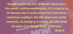 Mom's words and thoughts to cherish forever. Borders Books, Gifts For New Parents, Relationship Problems, Meant To Be, Wedding Day, Memories, Thoughts, Learning, Words