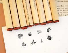 Tiny Leaf Rubber Stamp Sampler. $18.50, via Etsy.