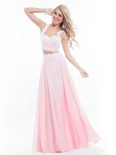 613e05bdcce A-Line Princess Spaghetti Straps Floor-Length Chiffon Two Piece Prom Dress  Chiffon