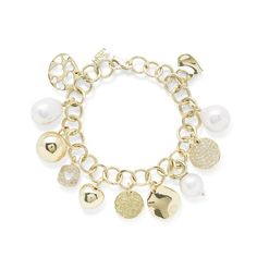 Ippolita 18K Gold Charm Bracelet with Diamonds and Pearls-Diamond, Pearl