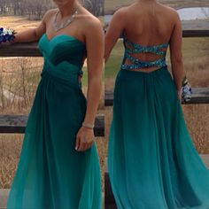 Teal ombre open back prom dress