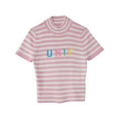 『UNIF』LENNY CROP TOP (129,305 KRW) ❤ liked on Polyvore featuring tops, crop top, lenny, pink top and pink crop top