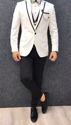 Collection: Spring – Summer 2019 Product: White SlimFit Tuxedo Color Code: White Size: Suit satin fabric, lycra Machine Washable: No Fitting: Slim-fit Package Include: Jacket, Vest, Pants Only Gifts: Shirt, Chain and Bow Tie Indian Men Fashion, Mens Fashion Suits, Mens Suits, Suit Men, Mens Suit Vest, Groomsmen Suits, Slim Fit Tuxedo, Tuxedo For Men, Wedding Dress Men