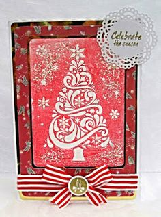 """Dream Laine Darice 4.23"""" x 5.75"""" Embossing Folders - Christmas Tree  Crafters Companion Die'sire Decorative Die - Chantilly Lace Frame  Crafters Companion Die'sire Sentimentals Rubber Stamps - Christmas Magic  Tim Holtz Distress Ink and Frantage Ribbon, bling , mirri card and DP are from my stash"""