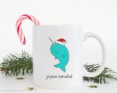 Christmas Mug Funny Coffee Mugs Narwhal Pun Cute Fun Holiday Gift For Friend Girlfriend Her Him Sister Kawaii Gifts Merry Happy Holidays  Joyeux Narwhal...a fun gift for friends and family, the narwhal and pun lovers in your life! Send this cute narwhal mug and spread some smiles this holiday season! He also makes a fun treat for yourself, a sweet addition to any daily coffee routine!  Design is printed on both the front and back so its cute face can be seen no matter which way the mug is…