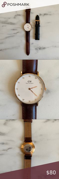Daniel Wellington Leather watch + 2nd watch strap Brown leather and black leather straps.  White watch face with gold accents and diamonds. Like new - worn a few times.  Needs battery replacement. Daniel Wellington Accessories Watches Watch 2, Watch Faces, Gold Accents, Daniel Wellington, Brown Leather, Diamonds, Times, Closet, Accessories