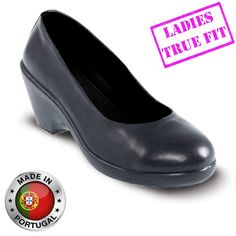 796408e8bca Lavoro Grace ESD S3 Executive Black Ladies Wedge Heel Safety Court Shoes  Office Safety