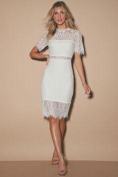 Chic White Dress - Lace Dress - LWD - Sheath Dress - Lulus Cute White Dress, Little White Dresses, White Wedding Dresses, White Lace Dress Short, Wedding Gowns, Bridal Outfits, Bridal Dresses, Women's Dresses, Dresses Online