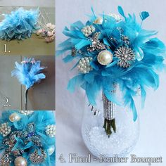 Quinceanera Bouquet Idea, DIY Feather & Brooch Bouquet #quinceanerabouquet #DIYbouquet #bluequinceanera #afloral