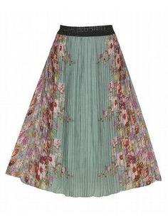 Green Mirror Print Maxi Skirt | Plus Size Mid Skirts | fullbeauty