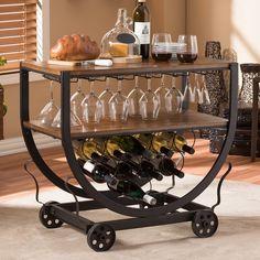 Wine Glass Storage, Wine Glass Rack, Wine Racks, Mini Bars, Wood Table Rustic, Wine Cart, Baxton Studio, Bars For Home, Mobile Bar