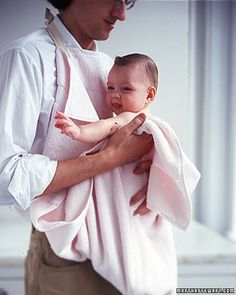 This easy-to-make bath apron gives Mom or Dad a layer of protection -- and Baby a comfortable place to dry off.