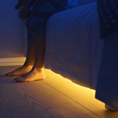 The Bed Light responds to your nightly needs. Getting up at night becomes effortless with a light designed to turn off and on when you need it. It's guaranteed to keep the monsters away. The Bed Light is an innovative LED light product designed to. Bedroom Lighting, Interior Lighting, Home Lighting, Under Bed Lighting, My New Room, My Room, Home Bedroom, Bedroom Decor, Bedrooms