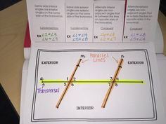 Parallel Lines Cut by Transversal Interactive Notebook Foldable Math 8, 7th Grade Math, Geometry Interactive Notebook, Interactive Notebooks, Parallel And Perpendicular Lines, Interior And Exterior Angles, Geometry Activities, Math Boards, Math About Me