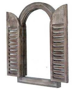 Miroir Fenêtre Cintrée Arrondie 2 Volets à Persiennes en Bois Marron 52x32cm