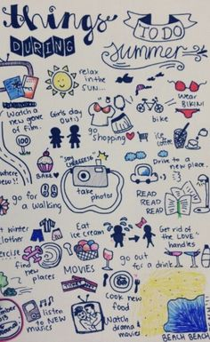 Things to do during summer :) I was inspired by the pin 'Things to do all summer:' and decided to come up with my own version! Hopefully I can do all of these things during 2013 summmer :) Check where I got the idea from: . Bullet Journal Inspo, My Journal, Journal Pages, Journals, Bucket List For Teens, Summer Bucket Lists, Summer Fun, Summer Things, Teen Summer
