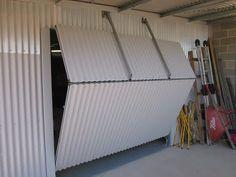 Led Lights For Glass Shelves Gate Design, Door Design, Sliding Garage Doors, Cool Sheds, Shop Doors, Backyard Sheds, Building A Shed, Folding Doors, Cladding