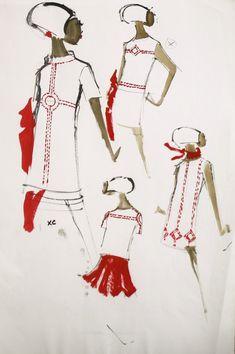 Vintage Pierre Balmain Fashion Sketch c. 1960s