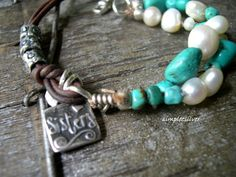 RESERVED  -  Turquoise Pearl Leather Bracelet  -  Rustic Jewelry  -  Charm Bracelet  -  Artisan Jewelry